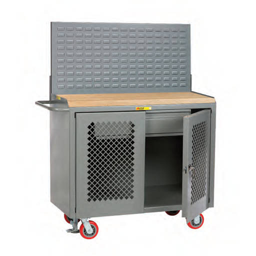 Little Giant Mobile Bench Cabinets with Louvered or Pegboard Panel Model No. MJP2D-HDFL-LP
