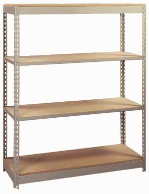 Lyon Pre-Engineered Rivet Rack Shelving - 4 Level with Heavy Duty Channel Beams