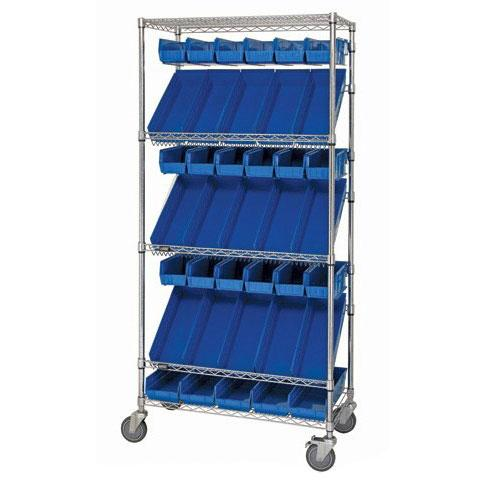 Quantum Slanted Shelf Cart with Bin Holders Combo Cart WRCSL5-74-1848-104220-B