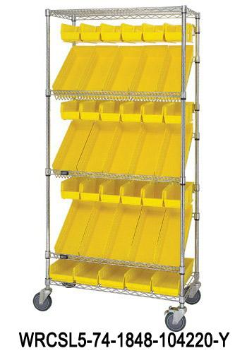 Quantum Slanted Shelf Cart with Bin Holders Combo Cart WRCSL5-74-1848-104220-Y
