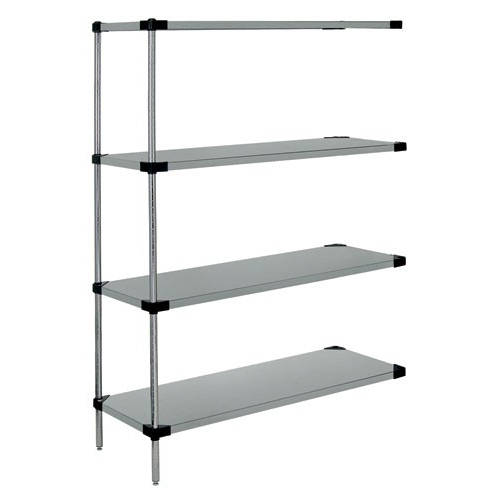 Quantum Stainless Steel Solid Shelving Add-On Kits - 4 Shelves 54 Inch High