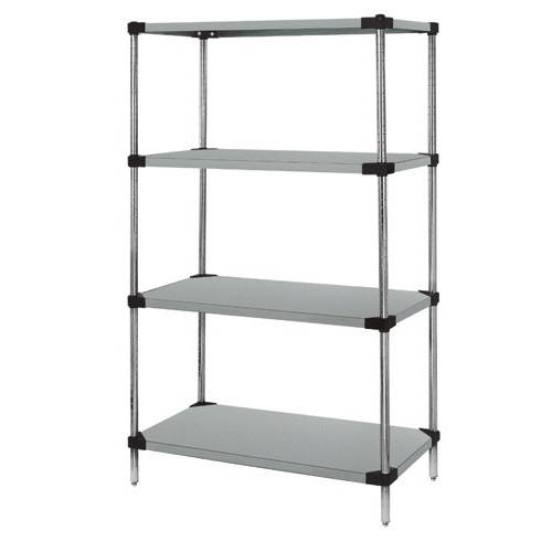 Quantum Stainless Steel Solid Shelving Starter Kits - 4 Shelves 86 Inch High
