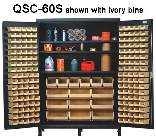 Quantum Super Wide Colossal Heavy Duty Cabinets QSC-60S with ivory bins