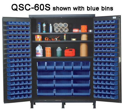 Quantum Super Wide Colossal Heavy Duty Cabinets QSC-60S with blue bins