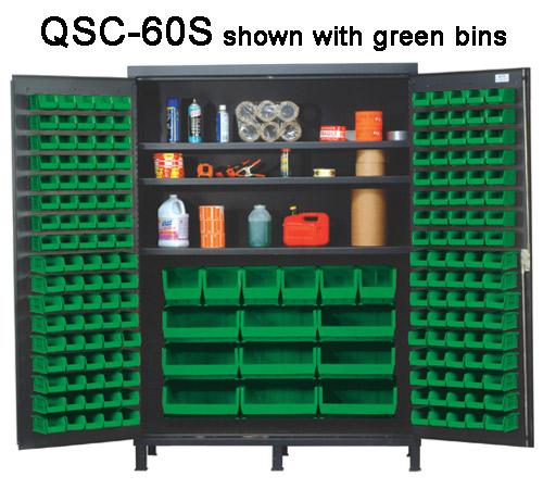 Quantum Super Wide Colossal Heavy Duty Cabinets QSC-60S with green bins
