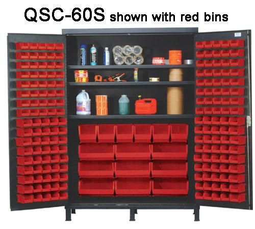 Quantum Super Wide Colossal Heavy Duty Cabinets QSC-60S with red bins