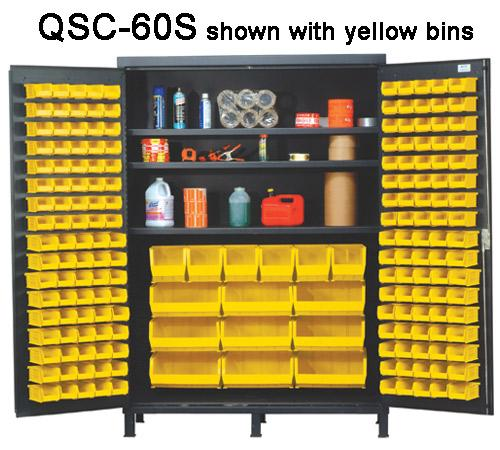 Quantum Super Wide Colossal Heavy Duty Cabinets QSC-60S with yellow bins