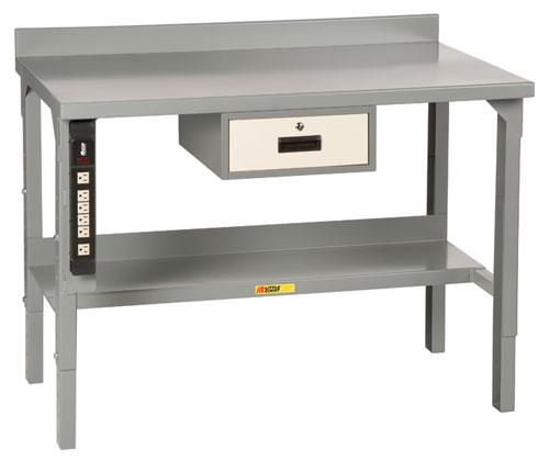 Little Giant Welded Workbench with Backstop - Stationary - Model No. WA-2848-P (shown with DR-KIT and factory installed power strip)