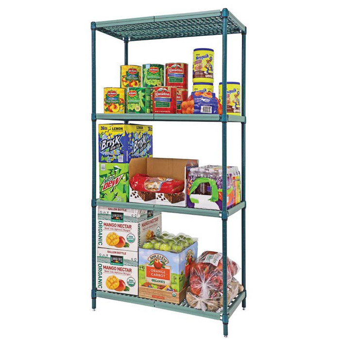 "Quantum Proform Green Wire Plastic Mat One Box Shelving - 74"" H 4 Shelves"
