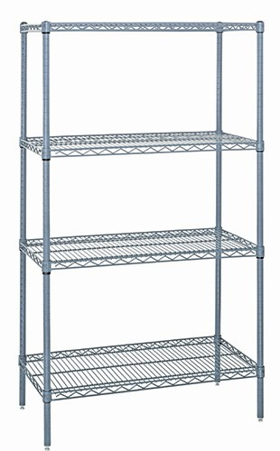 Quantum Genuine Wire Shelving Gray Epoxy Starter Kit 4 Shelves 54 Inch High