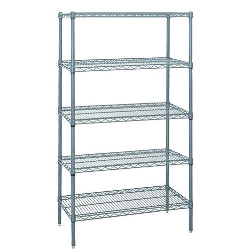 Quantum Genuine Wire Shelving Gray Epoxy Starter Kit - 5 Shelves 54 Inch High