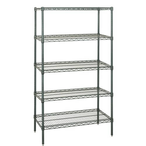 Quantum Genuine Wire Shelving Proform Green Epoxy Starter Kit 5 Shelves 54 Inch High