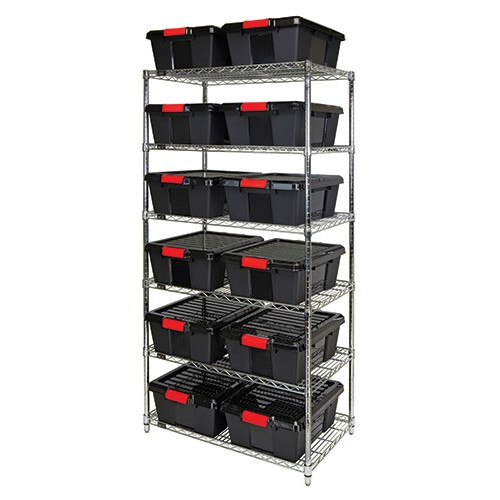 Quantum Black Latch Container Wire Shelving System