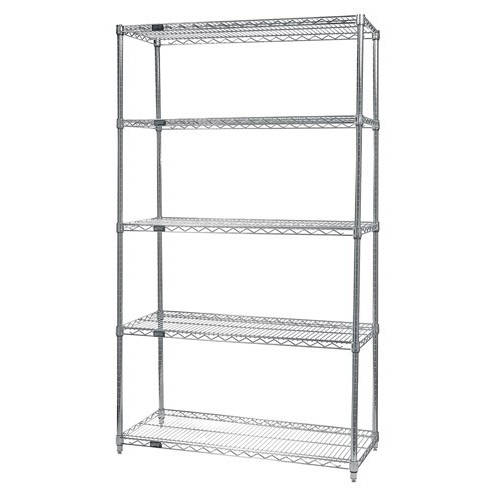 Quantum Genuine Wire Shelving Stainless Steel Starter Kit - 5 Shelves 63 Inch High