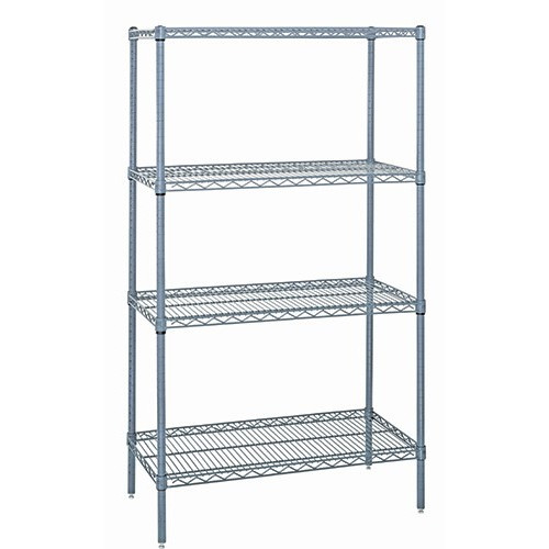 Quantum Genuine Wire Shelving Gray Epoxy Starter Kit - 4 Shelves 74 Inch High