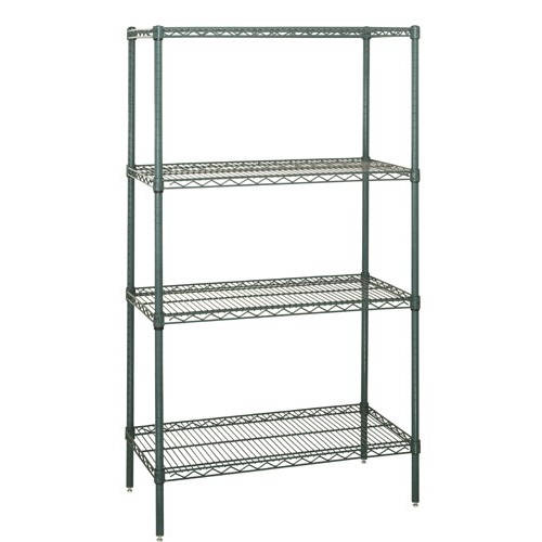 Quantum Genuine Wire Shelving Proform Green Epoxy Starter Kit - 4 Shelves 74 Inch High