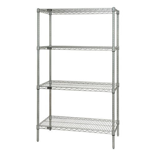 Quantum Genuine Wire Shelving Stainless Steel Starter Kit - 4 Shelves 74 Inch High