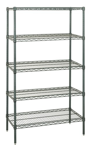Quantum Genuine Wire Shelving Proform Green Epoxy Starter Kit - 5 Shelves 74 Inch High