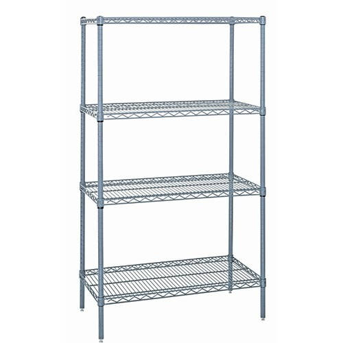 Quantum Genuine Wire Shelving Gray Epoxy Starter Kit - 4 Shelves 86 Inch High