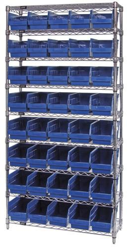 "Quantum Store-More 6"" Shelf Bin Wire Shelving System - Complete Package Model No. WR9-204"