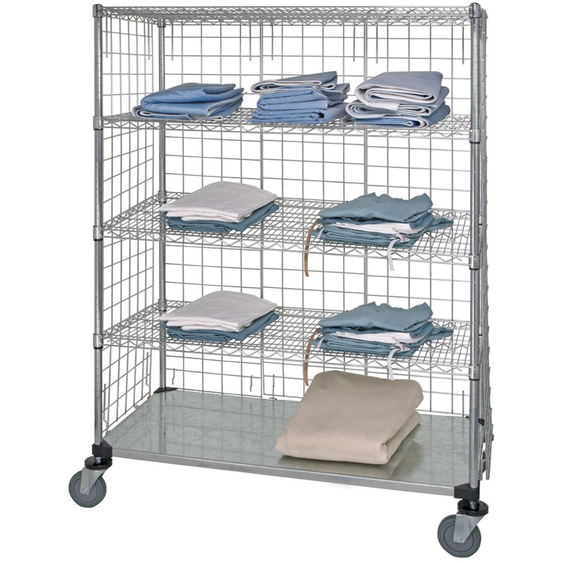 Quantum 3 Sided 5 Shelf Stem Caster Linen Cart
